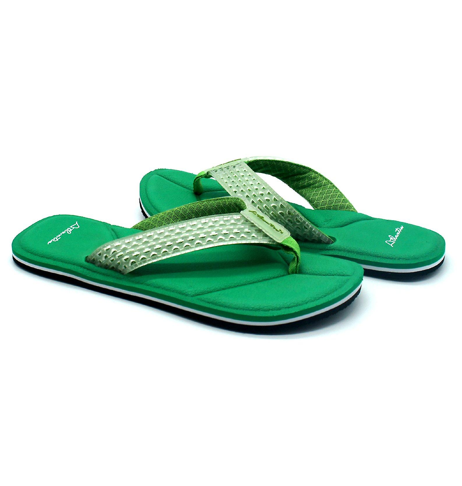 Atlantis Shoes Men Supportive Cushioned Comfortable Sandals Flip Flops Simply Colorful Green