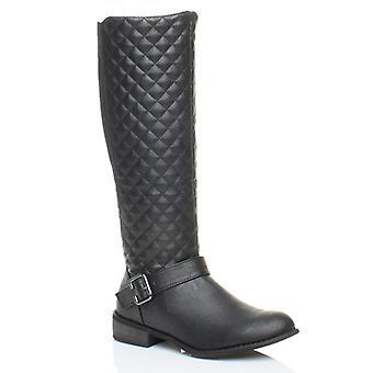Ajvani mens lav hæl flat biker strekke vattert ridning zip vidskaftede vinter kneet støvler