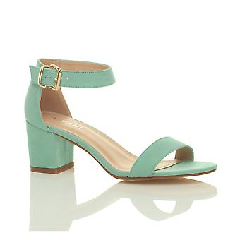 Ajvani womens low mid block heel peep toe buckle ankle strap party strappy sandals shoes