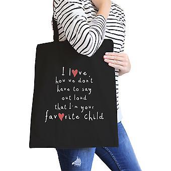 Favoritt datter svart lerret skulderveske Super søt Design