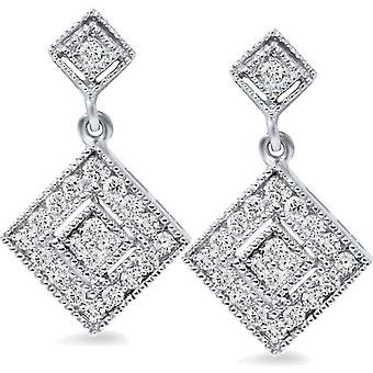 1/2ct Princess Cut Shape Dangle Diamond Earrings 10K White Gold