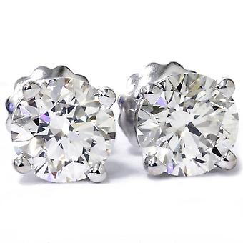 2 cttw Round Diamond Studs With Screw Backs Enhanced