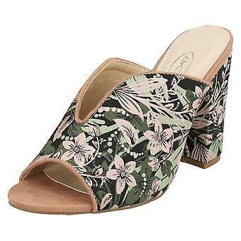 Ladies Spot On High Chunky Heel Mules F10826 - Dusty Pink/Mint Fabric - UK Size 8 - EU Size 41 - US Size 10