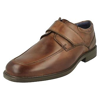 Mens Padders Formal Hook & Loop Fastening Shoes Brent - Brown Leather - UK Size 12G - EU Size 47 - US Size 13
