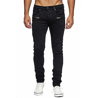 Men's Jeans Black Destroyed Ripped Leather Details