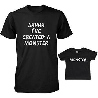 Gemaakt van een Monster vader en Baby bijpassende T-Shirts