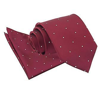 Burgunder Pin Dot Krawatte & Einstecktuch Satz