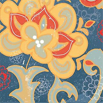 Paisley Blossom Red I Poster Print by Leslie Mark (18 x 18)