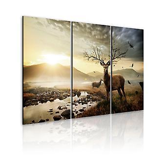 Canvas Print - hert met een gewei boom-achtige