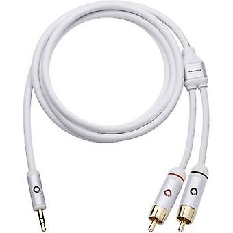 Oehlbach RCA / Jack Audio/phono Cable [2x RCA plug (phono) - 1x Jack plug 3.5 mm] 1.50 m White gold plated connectors