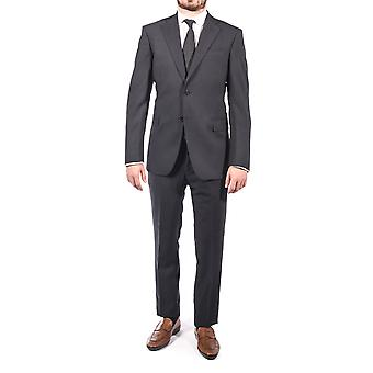 Luciano Barbera Club Men's Slim Fit Wool Two Button Suit Navy Blue