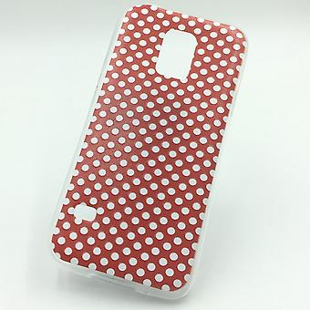Cell phone case for Samsung Galaxy S5 mini polka dot red Pouch Case + 1 x tank protection glass