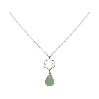 Ladies - necklace - charms - 925 Silver - Lotus Flower - mandala - chalcedony - drops - green - YOGA - 45 cm