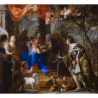 The Adoration of the Holy Family by,COELLO Claudio,50x50cm