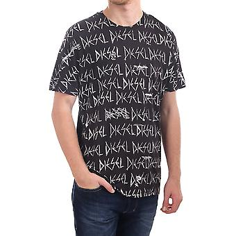 Diesel Joe Rq Ss T Shirt With All Over Diesel Print
