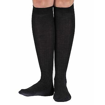 Rose warm women's merino knee-high socks in charcoal | By Pantherella