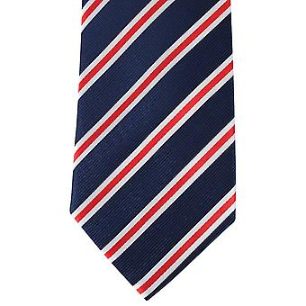 David Van Hagen Regimental Striped Tie - Navy/Red/White
