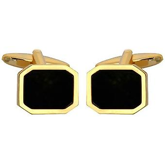 David Van Hagen plaqué or Onyx Hexagone Boutons de manchette - Black / Gold