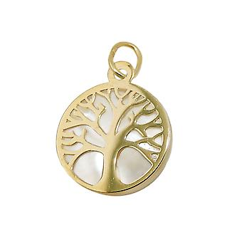 Anhänger 12mm Baum des Lebens mit Perlmutt 9Kt GOLD