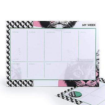 Mustard Gifts Cat Design Weekly Planner Tear Off Pad
