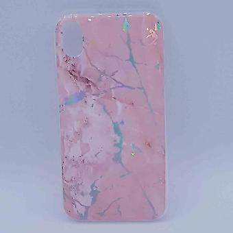 For IPhone XR-pouch-pink marble flash