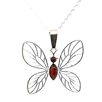 Toc Sterling Silver Butterfly Pendant with Amber Stone on 18 Inch Chain