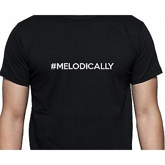 #Melodically Hashag Melodically Black Hand Printed T shirt