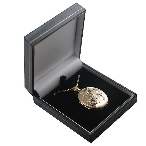 9ct Gold 35x26mm oval hand engraved 4 photo family Locket with a belcher Chain 16 inches Only Suitable for Children