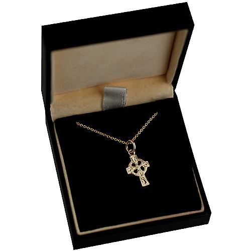 9ct Gold 16x10mm hand engraved Celtic Cross with a cable Chain 16 inches Only Suitable for Children