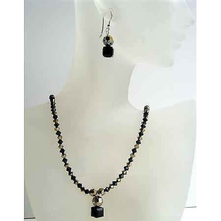 Dorado & Jet Swarovski Crystals Handmade Custom Jewelry Necklace Set
