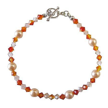 Peach Jewelry Swarovski Peach Pearl Silk Fire Opal Crystals Bracelet
