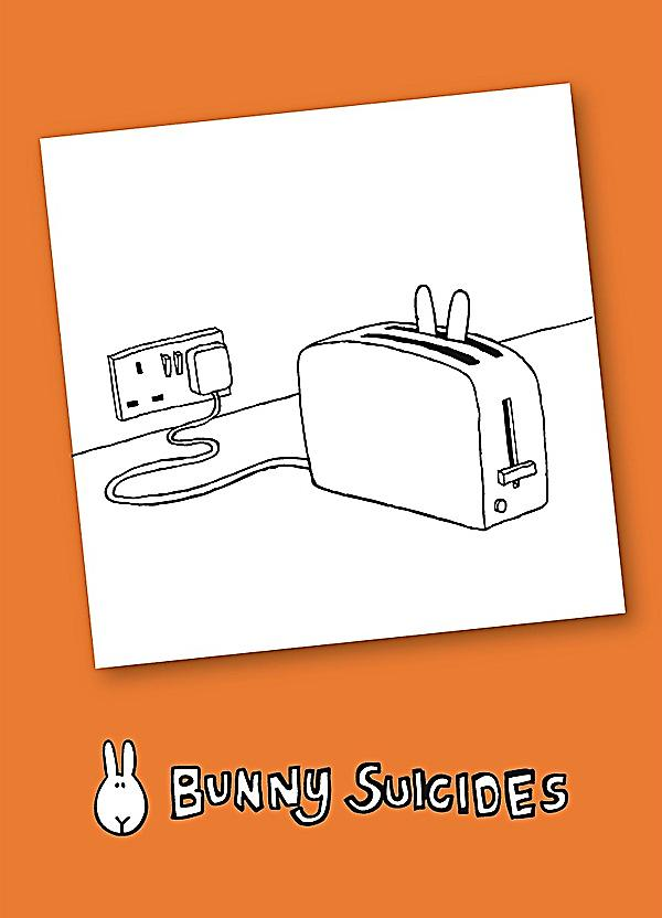 Bunny Suicides Death By Toaster funny fridge magnet  (hb)
