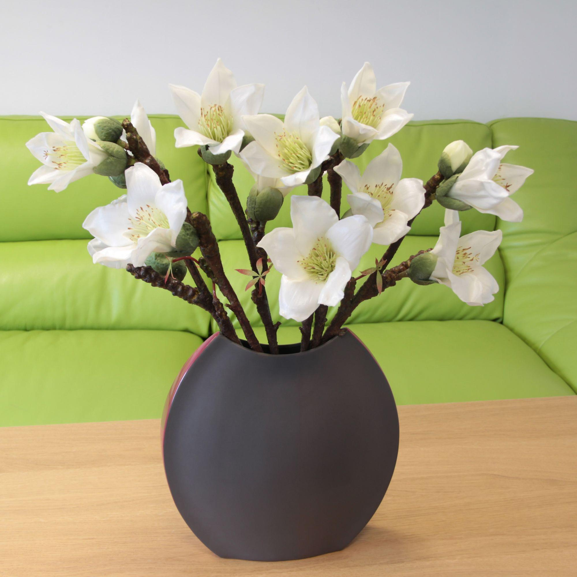 Saffronstem Artificial White Kapok Spray, Real Touch and Look Latex Flowers