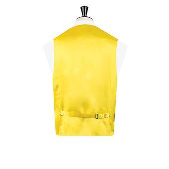 Dobell Mens gelbe Weste passen regelmäßige Dupionseide 5 Button
