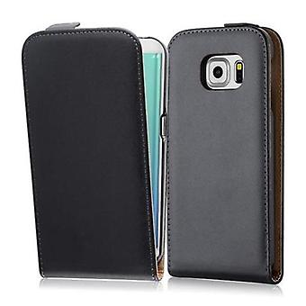 Cadorabo sleeve for Samsung Galaxy S6 EDGE in CAVIAR black - case in the flip design from smooth art leather - case cover sleeve pouch bag book Klapp style