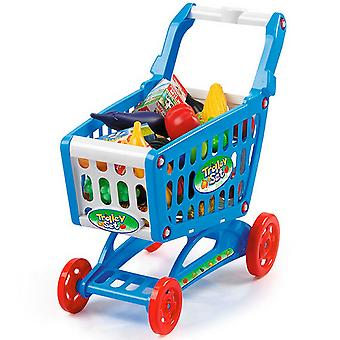 Toyrific Shopping Trolley Set With Play Foods Plastic Frame Pretend Shopping Toy