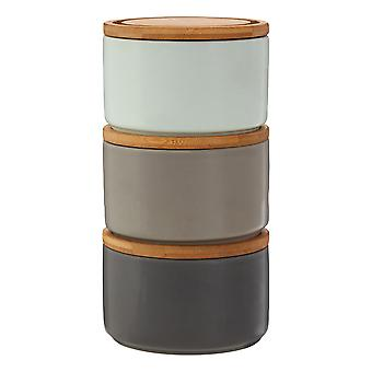 Premier Housewares Fenwick Set of 3 Stackable Storage Canisters, Grey Blue