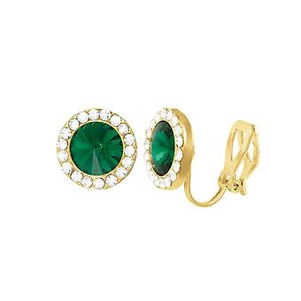 Eternal Collection Elfin Emerald Green Austrian Crystal Gold Tone Stud Clip On Earrings