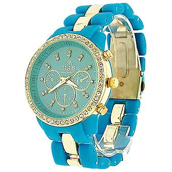 Mab London Ladies Turquoise Dial Turquoise & Goldtone Rubberised Strap Watch
