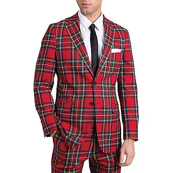 Dobell Mens Red Tartan Suit Jacket Slim Fit Notch lapel