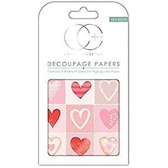 Craft Consortium kärlek hjärtan decoupage papper (CCDECP254)