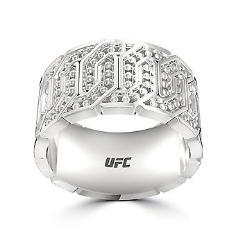 Ufc - Deluxe Ufc Octagon Beaded Ring In Sterling Silver