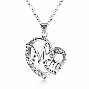 18K White-Gold Plated Mom Heart Necklace