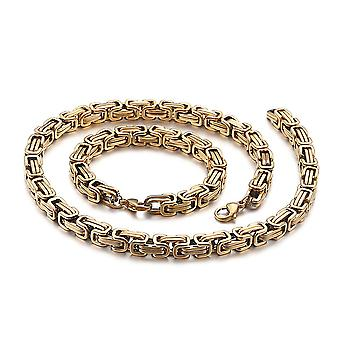 Bracelet royal 5mm bracelet homme collier pour hommes, chaînes en acier inoxydable en or de 80cm