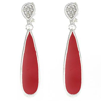 Clip On Earrings Store Red Enamel and Crystal Pendant Drop Clip On Earrings