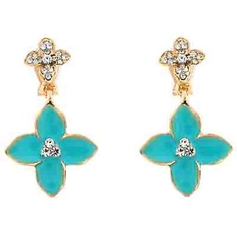 Clip On Earrings Store Blue Enamel Flower  and  Clear Crystal Clip On Earrings