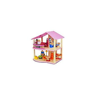Pintoy My First Home Houten Poppenhuis Roze + Inrichting + 2 Popjes