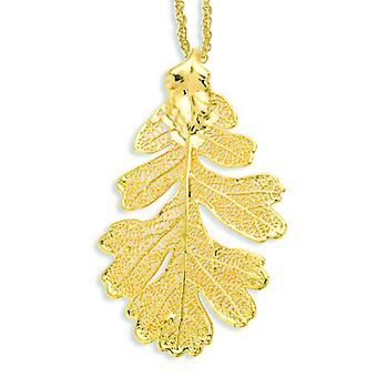 24k Gold Dipped Oak Leaf With Gold-plated Chain Necklace - 3.2 Grams - 20 Inch