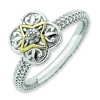 2.25mm Sterling Silver and 14k Stackable Expressions Diamond Ring - Ring Size: 5 to 10