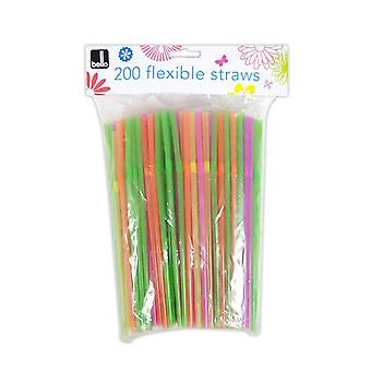 Pack of 200 Drinking Straws Quality Flexible - Ideal for Parties BBQs Summer